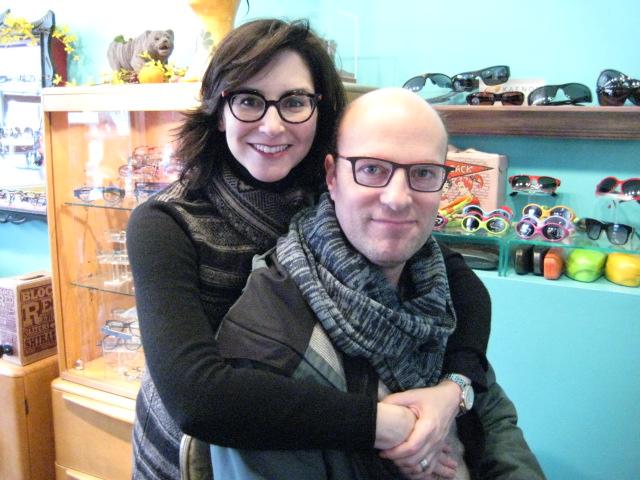 Gail and Ari in their custom, colorful, handmade eye glasses.